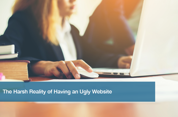 A woman looks at her ugly website