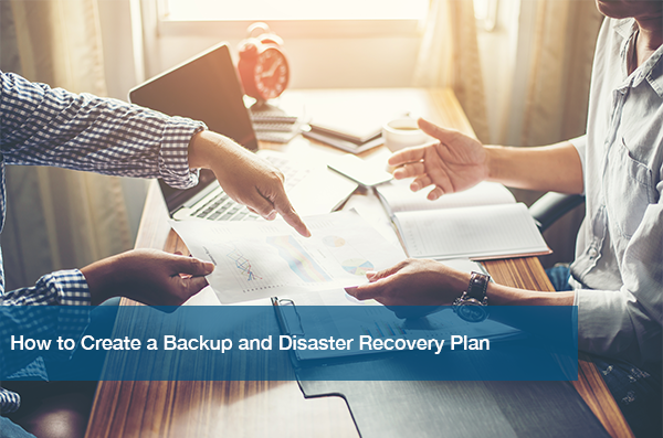 Two Business Men Discuss a Backup and Disaster Recovery Plan.