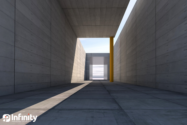 long outdoor hallway with sunlight